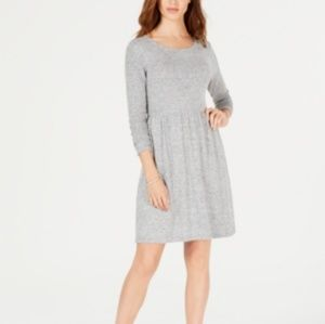 Maison Jules  Pleated Fit & Flare Dress  Gray Midi